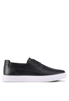 ZALORA black Faux Leather Lace-Up Slip-On 778AFSH627D36CGS_1