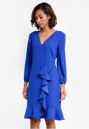 J.Crew blue Halsey Ruffle Front Dress Lucky Crepe 118B7AA354AC7EGS_1