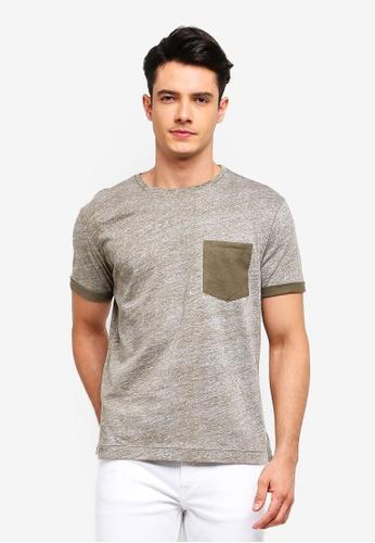 MANGO Man 米褐色 對比拼接T恤 DF69EAAE192619GS_1