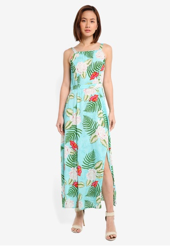 ZALORA blue Printed Maxi Dress 19493AAF448B4EGS_1