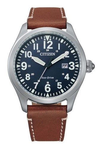 Citizen blue Citizen Jam tangan Pria Eco-Drive Watch BM6838-33L Blue Dial with Brown Leather Strap 9AAFDAC11252D8GS_1