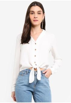 275a445bb1e033 Miss Selfridge beige Ivory Button Through Tie Front Shirt 1659EAA95AC4C4GS_1