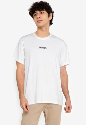 ZALORA BASICS white Ok Thx Bye T-Shirt 950F7AA6E466E9GS_1