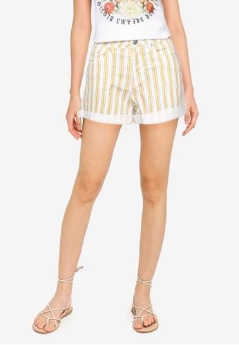 Springfield gold Striped Denim Shorts BD88EAA919719EGS_1