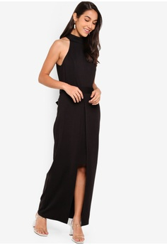 f51e4fa5c35 ZALORA Evening Halter Neck Split Detail Maxi Dress HK  279.00. Sizes XS S M  L XL