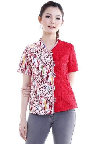 DhieVine Batik red and multi Putri Bekhusek Lereng Blouse 6AC4CAAB5DA4BBGS_1