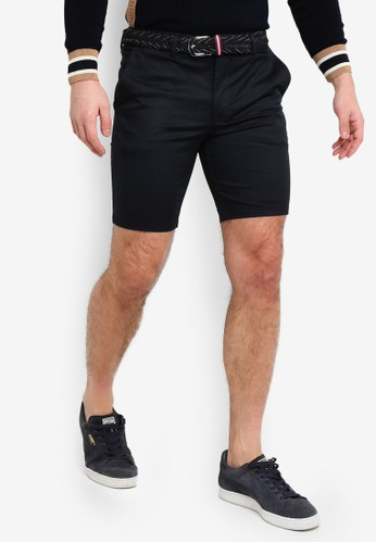 River Island navy Axis Belted Shorts F9329AAE64AAB4GS_1