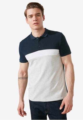 Trendyol navy Colorblock Polo Shirt 14C5FAADF08200GS_1