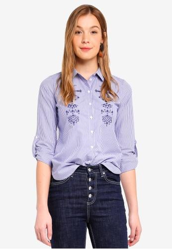 Dorothy Perkins blue Petites Ivory Blue Pioneer Shirt F183FAAFFAB8D1GS_1