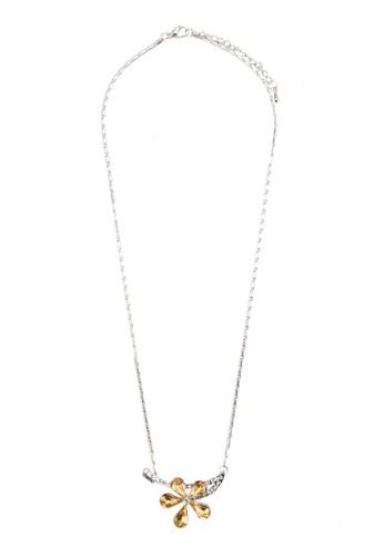 Edelweiss 閃鑽花飾吊墜項鍊,esprit台灣 飾品配件, 項鍊