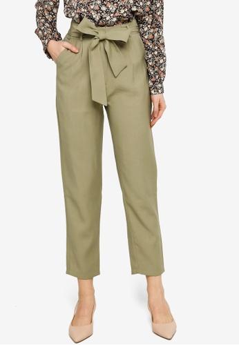 ZALORA WORK 綠色 Tie Waist Peg Leg Long Pants 5C794AA7F60996GS_1