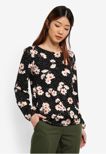 Dorothy Perkins black Black Floral Ruched Hem Top 49268AA81A1084GS_1