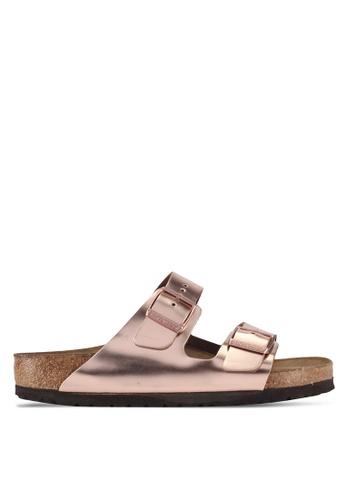 Birkenstock brown Arizona Metallic Soft Footbed Sandals 6E2A9SH18BF345GS_1