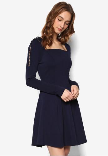 多角方領鈕扣設計長袖迷你連身裙, 服飾,esprit高雄門市 服飾