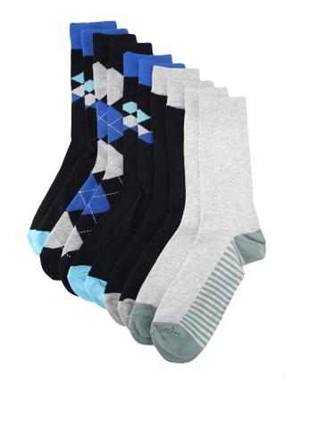 Burton Menswear London blue 5 Pack Blue Argyle Socks E6F36AA5600B78GS_1