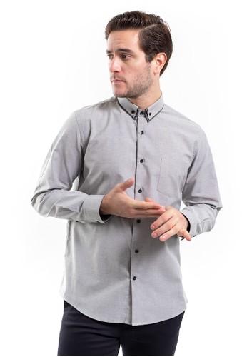 MANLY grey MANLY Wilshine Grey Slim Fit Striped Shirt Long Sleeve Plain D3F04AAECF0C6DGS_1