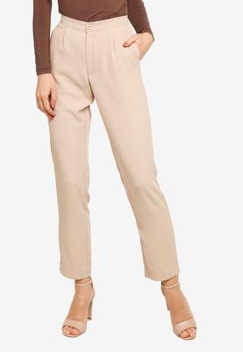Gene Martino beige Straight Cut Pants 667A8AAB244E3BGS_1