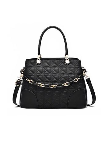 Lara black Women's Stylish Embossed PU Leather Zipper Shoulder Bag - Black BB833AC69F6964GS_1