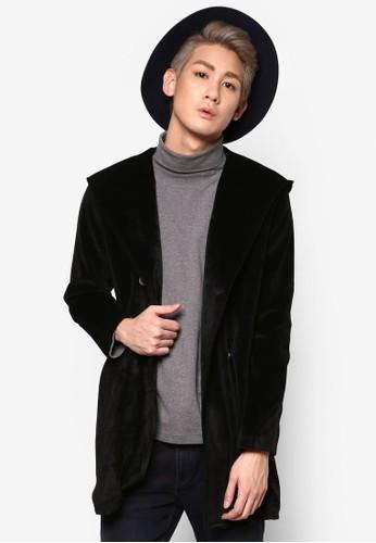 雙排鈕連帽絲絨外套, 服飾, 外esprit分店套
