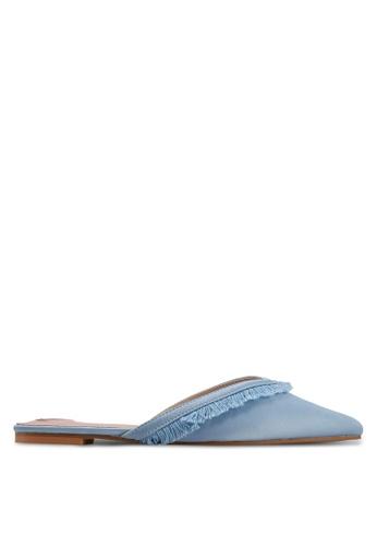 Velvet blue Fringe Slip on Flats EDCF3SH85504DCGS_1