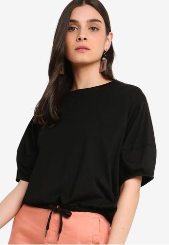ZALORA 黑色 Balloon Sleeves T恤 61BF7AA73EEA64GS_1