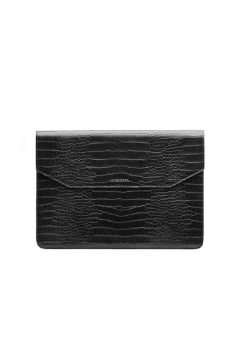 Maverick & Co. black Maverick & Co. Sirius Croc-Embossed MacBook Sleeve (Premium Black) F9072ACC4C1AF5GS_1