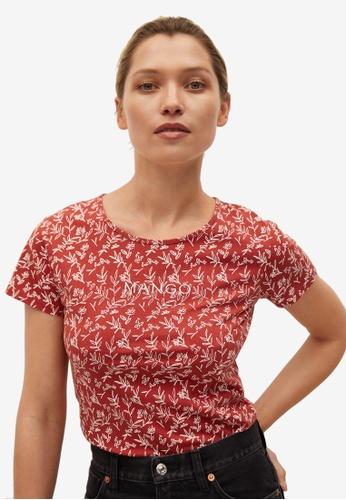 Mango 橘色 Recycled Cotton Log T-Shirt 80274AA5A0AAD4GS_1