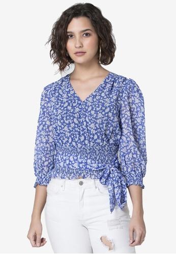 FabAlley blue Floral Tie Crop Top 41322AAAE50D19GS_1