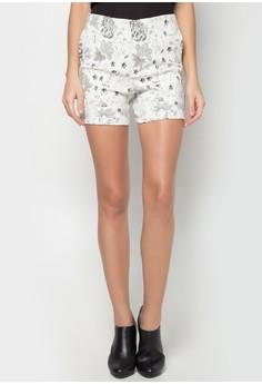 Printed High-waist Shorts