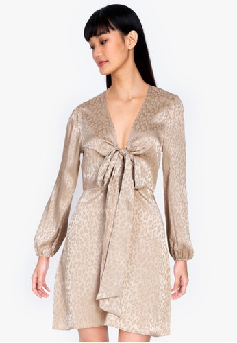 ZALORA BASICS beige Bow Front Satin Dress D5E8FAA1756E7CGS_1