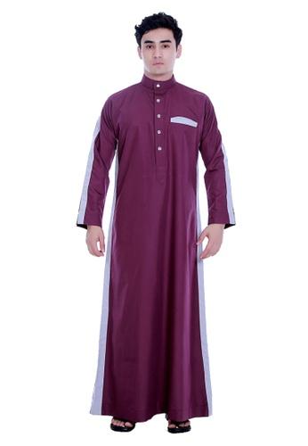 Amar Amran grey and purple Jubah Alif For Men 333CBAA657DA70GS_1