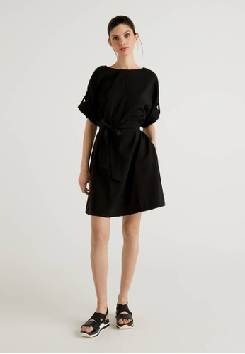 United Colors of Benetton black Short Dress with Belt 45763AA3E06046GS_1