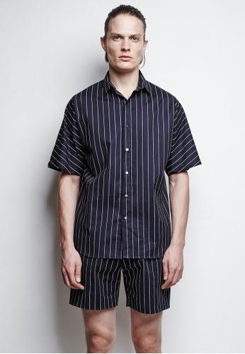 3 navy Jacob Navy Striped Shirt 0FFFAAA421FA6FGS_1