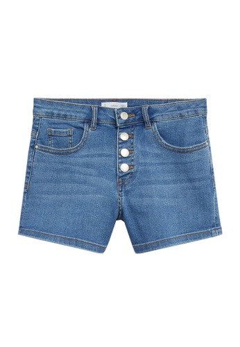 MANGO KIDS blue Buttoned Denim Shorts C6759KA88B106FGS_1
