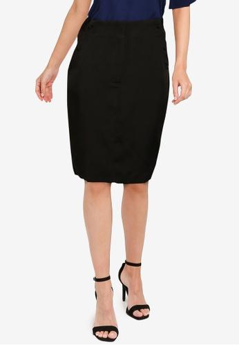 ZALORA WORK black Button Pencil Skirt 40307AAEF498A6GS_1