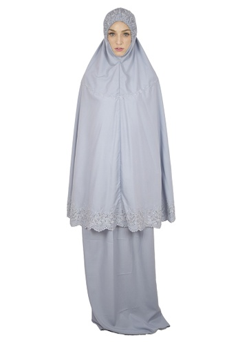 Cantik Butterfly grey Sayida Embroidered Telekung Set (Grey) 4A0C5AA35E7CE2GS_1