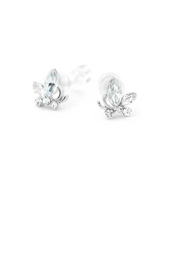 Glamorousky silver Mini Butterfly Earrings with Silver Austrian Element Crystals BF92BAC3FF7812GS_1