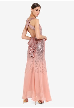 5a6924c3dc78 Goddiva pink Criss Cross Back Sequin Maxi Dress 6E8EFAA1C8AF6CGS 1