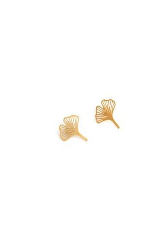 Gung Jewellery gold Clover Petal Stud Earrings in Matte Gold F32E8AC36178A5GS_1