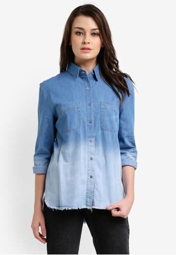 Zalia blue Dip-Dye Raw Edge Oversized Shirt 96563ZZFE57C13GS_1