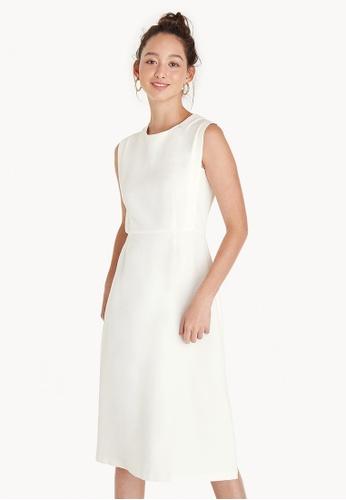 Pomelo white Midi A Line Empire Dress - White 67244AAD074555GS_1