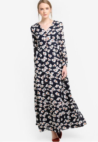 花卉印花長袖連身長裙, 服飾,esprit outlet 台中 洋裝