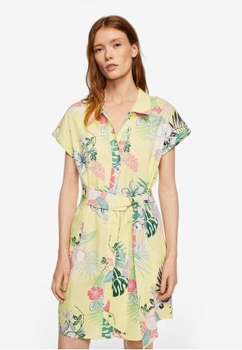 Mango yellow Belt Shirt Dress 380ACAA52339BBGS_1
