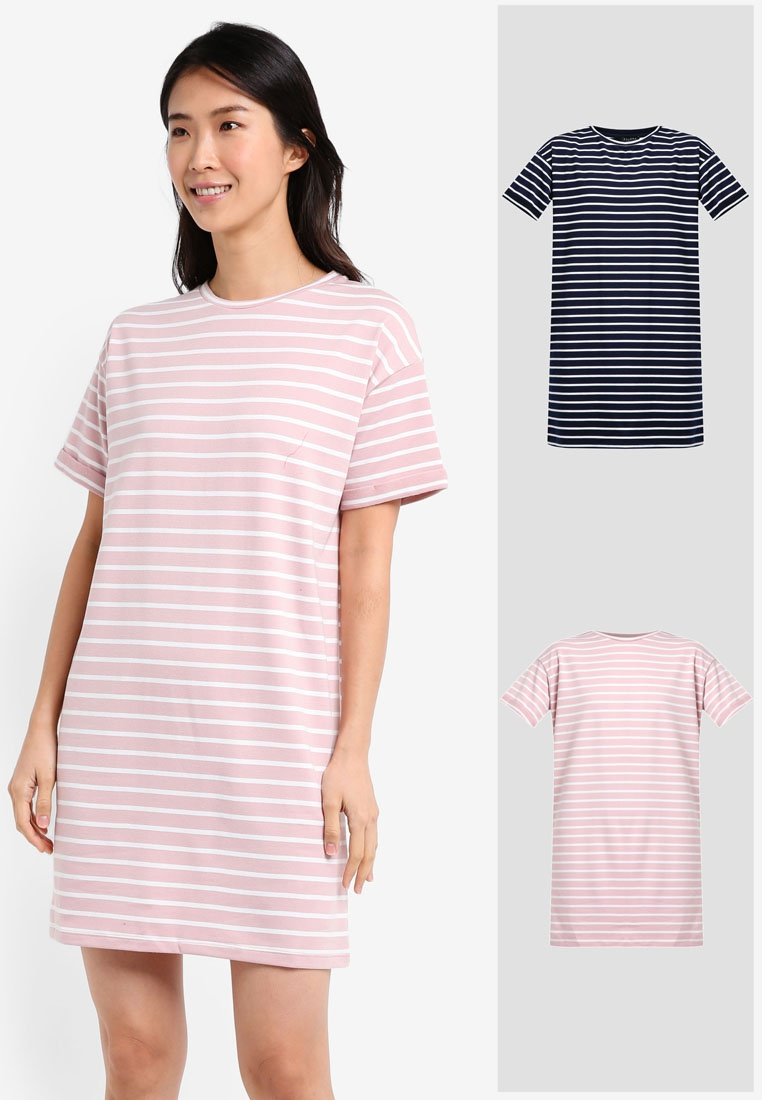 2 ZALORA Stripe amp; Stripe White Pink Essential T Pack BASICS Shirt Dress amp; Navy White xr6rXU8q