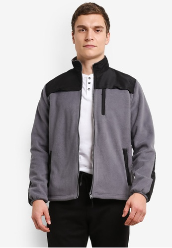 Burton Menswear London 灰色 Grey Fleece Jacket BU964AA0SHNTMY_1