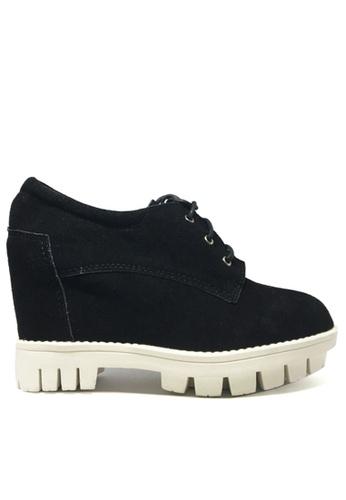 Twenty Eight Shoes 黑色 真猄皮內増高鞋 TW446SH95AGQHK_1