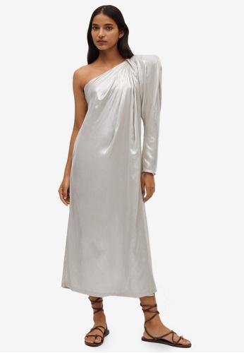 Mango silver Metallic Asymmetric Dress BA0CCAACE0FCADGS_1