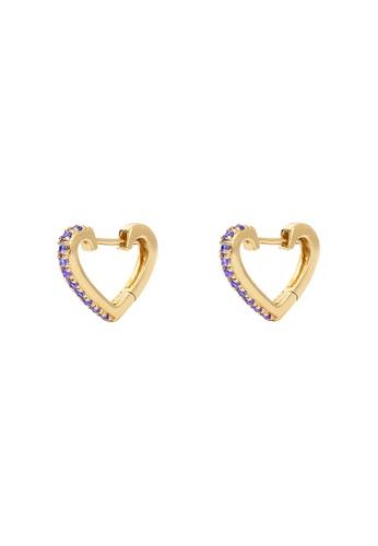 Wanderlust + Co gold Heart Gold Huggie Lilac CZ 10mm Earrings 8F382AC94D0C71GS_1