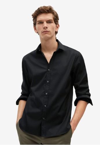 MANGO Man black Slim Fit Cotton Shirt D5D9CAA88ACD26GS_1