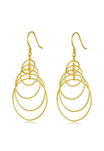 MBLife silver 925 Sterling Silver Plated Yellow Circle Ring Drop Hook Earrings 1A7D1ACF368894GS_1
